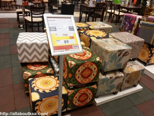 Beautiful printed ottoman seats for only 89 SAR.