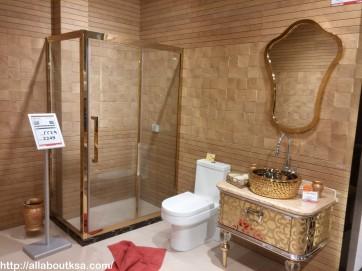 Golden corner bathroom glass panels with complete set for your bright taste